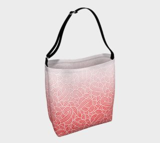 Ombre red and white swirls doodles Day Tote preview