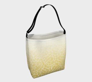 Ombre yellow and white swirls doodles Day Tote aperçu