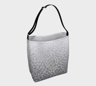 Ombre black and white swirls doodles Day Tote preview