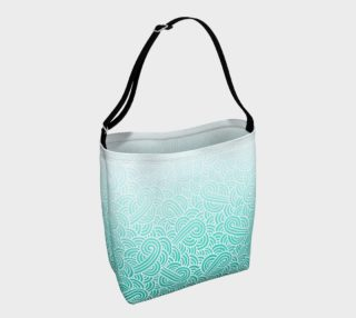Aperçu de Ombre turquoise blue and white swirls doodles Day Tote