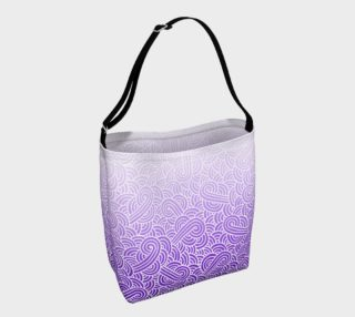 Ombre purple and white swirls doodles Day Tote aperçu