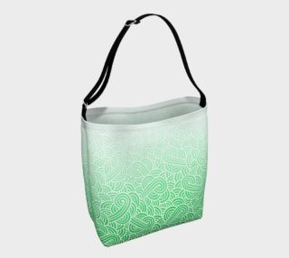 Ombre green and white swirls doodles Day Tote aperçu