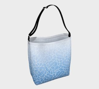 Ombre blue and white swirls doodles Day Tote preview