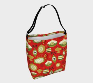 Red Christmas ornament tote bag preview