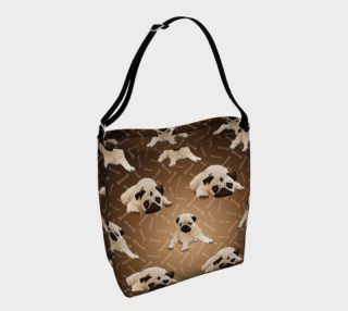 Pug Tote Bag - Brow with Bones and Fawn Pug preview