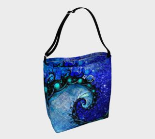 Day and Night Tote Bag with Nocturne of Scorpio, a Fractal Spiral Painting preview
