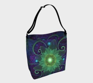 Shoulder Tote Bag with a Glowing Blue-Green Fractal Lotus Lily Pad Pond preview