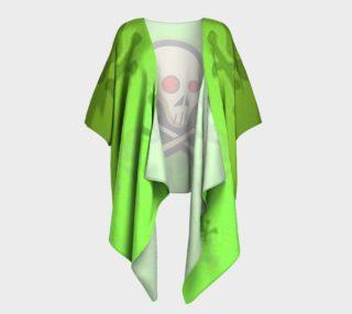 Cartoon Skull On Green Draped Kimono preview