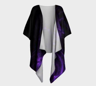 Purple Fractal on Black Draped Kimono robe preview