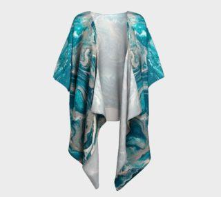 Turquoise Abstract Draped Kimono preview