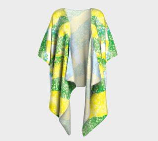 Aperçu de Yellow Blue Green White Paint Stripes Floral Draped Kimono
