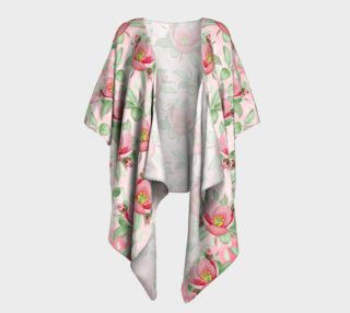 Aperçu de Bold Red Green Wild Rose Floral Draped Kimono