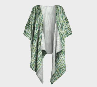 Aperçu de Blue Green Black Nature Floral Draped Kimono