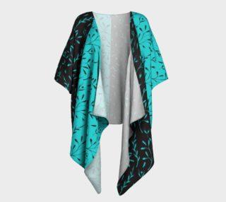 Two Tone Turquoise Black Leafy Floral Draped Kimono preview