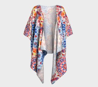 Blue and Orange Kaleidoscope Draped Kimono preview