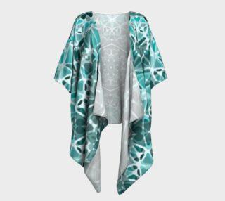 Turquoise & Gray Kaleidoscope Draped Kimono preview