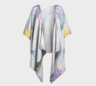 Delicate White Pansies Draped Kimono preview