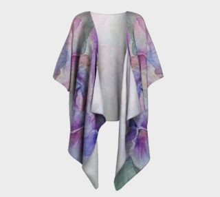 Purple Pansy Party Draped Kimono preview