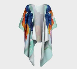 Blue and Orange Pansies Draped Kimono preview