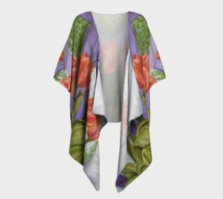 Orange Tulip Bouquet Draped Kimono preview