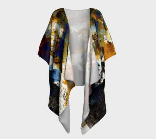 Abstract ocher, black and blue draped kimono preview