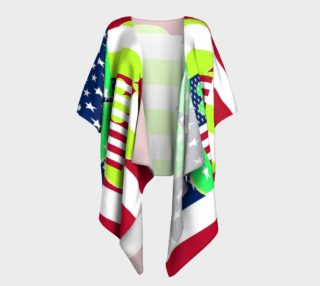 Funny St. Patrick Draped Kimono Irish Shamrock American Flag Colors preview