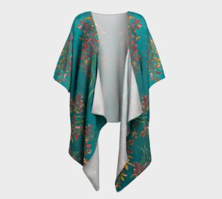 Orchids on turquoise draped kimono preview