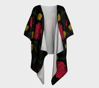Roses on Black Draped Kimono preview