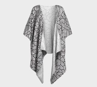 Black and white swirls doodles Draped Kimono preview