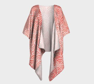 Peach echo and white swirls doodles Draped Kimono preview