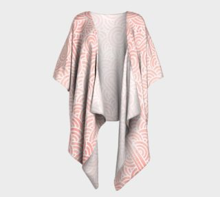 Rose quartz and white swirls doodles Draped Kimono preview