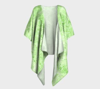 Greenery and white swirls doodles Draped Kimono preview