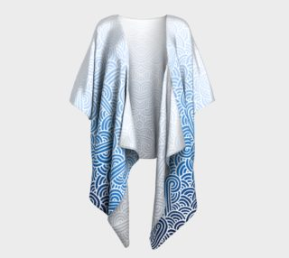 Ombre blue and white swirls doodles Draped Kimono preview