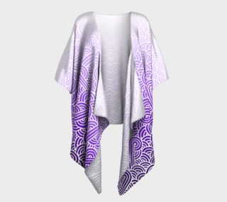 Ombre purple and white swirls doodles Draped Kimono preview
