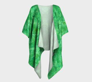 Green swirls doodles Draped Kimono preview