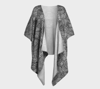 Grey and black swirls doodles Draped Kimono preview