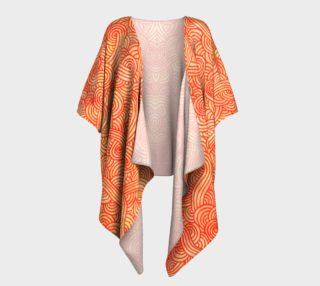 Orange and red swirls doodles Draped Kimono preview