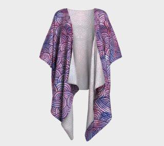 Purple swirls doodles Draped Kimono preview