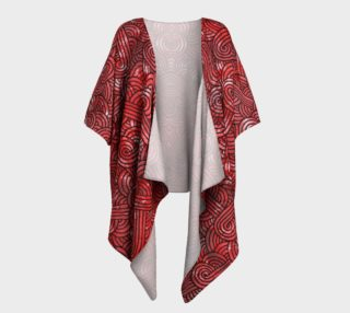Red and black swirls doodles Draped Kimono preview