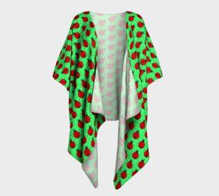 Ladybugs Pattern-Green Draped Kimono preview