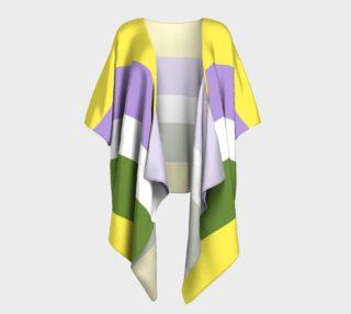 BIN Stripes Draped Kimono yellow purple white green preview
