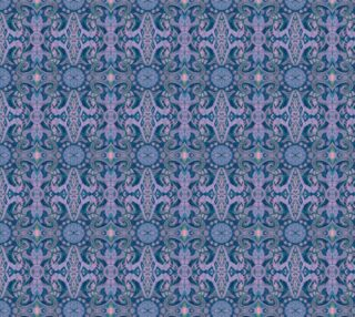 Aperçu de Curves & lotuses, abstract pattern, lavender, navy blue and teal