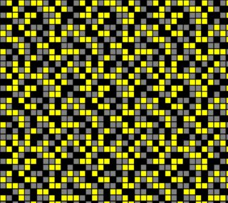 Aperçu de Yellow, Black, and Medium Grey Random Mosaic Squares. Design repeats every twelve inches.
