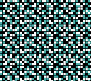 Aperçu de Verdigris, Black, and White Random Mosaic Squares. Design repeats every twelve inches.