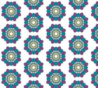 Aperçu de Gorgeous Colorful Mandala Kaleidoscope Pattern - Teal and Purple on White Bg