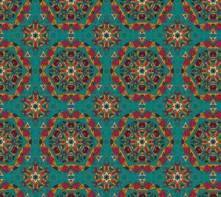 Aperçu de Unique FLoral Mandala Motif Fabric - Gorgeous deep teal color