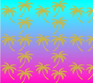 Fuschia and Turquoise Ombre Palm Tree Fabric preview