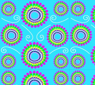Turquoise Spiral Floral Fabric preview