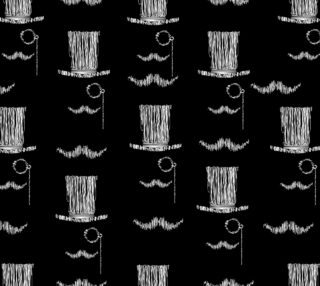 Pattern hand drawing gentleman face on black background preview