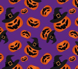 Aperçu de Halloween Pumpkins on Purple
